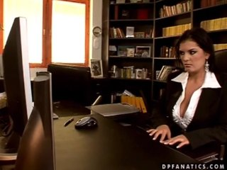 Adorable secretary Jasmine has anal love with two men and they both cum on her huge jugs