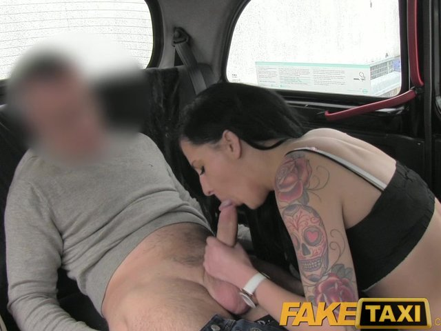 Faketaxi black haired milf cheats on hubby with taxi driver 8