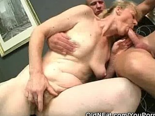 Hairy Hardcore Mature video: Chubby Granny Cock Sucks And Her Gets Hairy Pussy Fucked