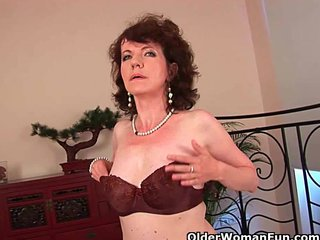 Hairy Cougar Hairy Mature Hairy Milf video: Hairy grannies unload a cock on their face and tits