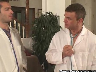 Blonde Facial Hospital video: Doctors fuck two busty nurses