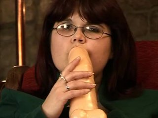 Sex Toys Shaved Brunette video: Big dildo for a big woman