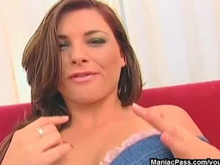 Brunette Double Penetration Facial video: Mom double-drilled on a couch