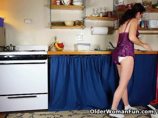 Milf Cleaning Mom Cleaning Mature Solo video: Mom has to take care of her raging hormones