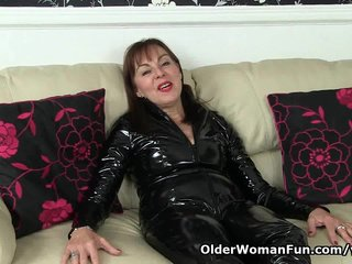 British Milf porno: British granny Georgie never ceases to amaze you in her catsuit