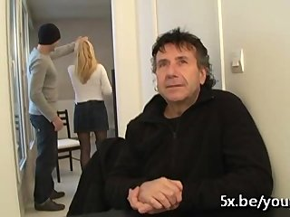 Amateur French Stockings video: We fuck his wife Fabienne in front of him